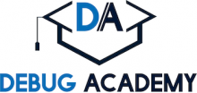 debug academy logo with graduation hat